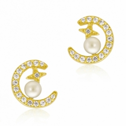 Boucles d'oreilles en or jaune, perle de culture et oxydes de zirconium