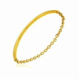 Bague en or jaune et chaîne