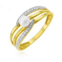 Bague en or jaune rhodié, perle de culture et diamants