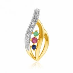 Pendentif or jaune rhodié,saphir,rubis,émeuraude et diamants