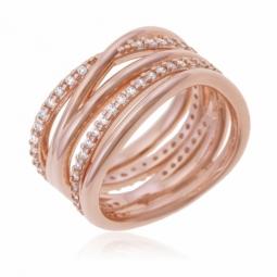 Bague en bronze plaqué or rose et oxydes de zirconium