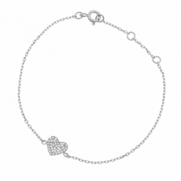 Bracelet en argent rhodié et oxydes de zirconium, coeur