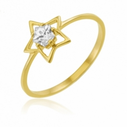 Bague en or jaune sertie de Swarovski Zirconia, étoile