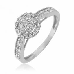 Bague en or gris et diamants