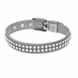 Bracelet en acier et cristaux de synthèse