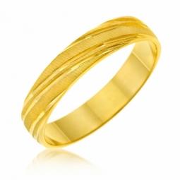 Alliance en or jaune mate, largeur 4 mm