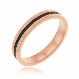 Alliance en or rose, ciselé  et carbone, 3.5 mm