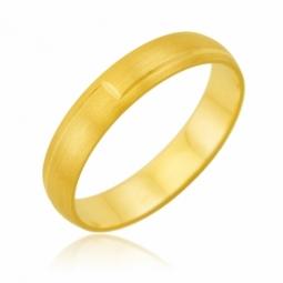 Alliance en or jaune lisse et satinée, 4 mm