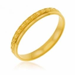 Alliance en or jaune perlée, largeur 3 mm