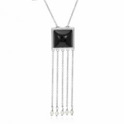 Collier en argent rhodié, onyx et perles de culture