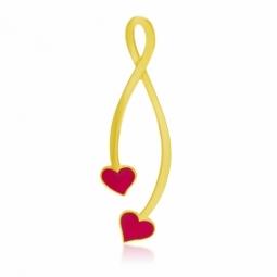 Pendentif en or jaune et laque rouge, 2 coeurs