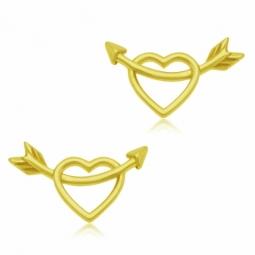 Boucles d'oreilles en or jaune, coeur ajouré