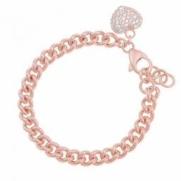 Bracelet en bronze plaqué or rose et oxydes de zirconium