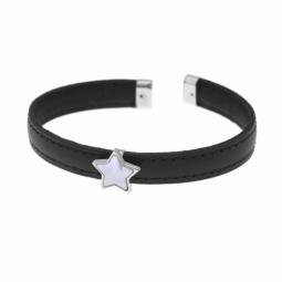 Bracelet en argent rhodié, intérieur acier, cuir et nacre