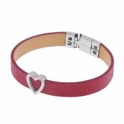 Bracelet en acier et cuir rouge, coeur