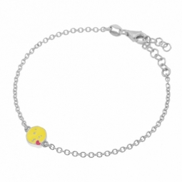 Bracelet en argent rhodié et laque, coeur