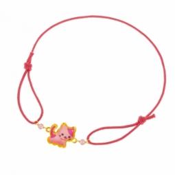 Bracelet cordon fuschia en or jaune et laque,oxydes de zirconium rose, chat