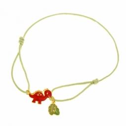 Bracelet cordon en or jaune et laque, dinosaure