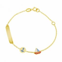 Bracelet identité en or jaune et laque, plaque rectangulaire