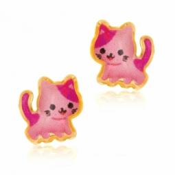 Boucles d'oreilles en or jaune et laque, chat