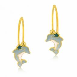 Boucles d'oreilles dormeuses en or jaune et laque, dauphin