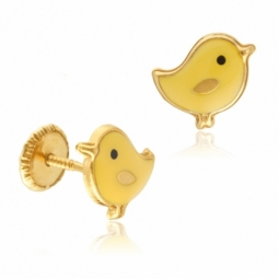 Boucles d'oreilles en or jaune et laque, poussin