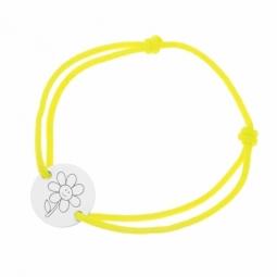 Bracelet cordon jaune en argent rhodié, fleur