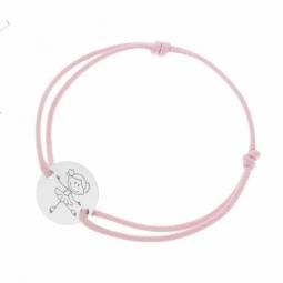 Bracelet cordon rose en argent rhodié, danseuse