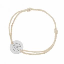 Bracelet cordon phosphorescent en argent rhodié, lune
