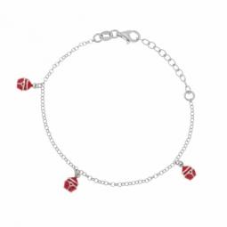 Bracelet en argent rhodié et laque, coccinelle