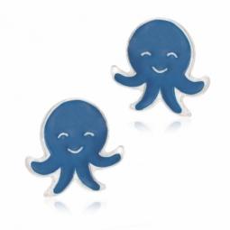 Boucles d'oreilles argent rhodié et laque, pieuvre