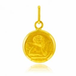 Médaille ronde en or jaune, ange revers Vierge et Bernadette