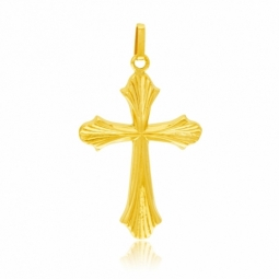 Croix en or jaune, striée