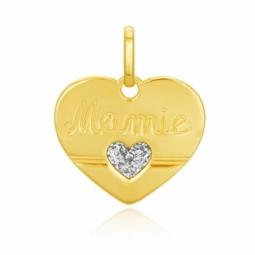 Pendentif en or jaune, coeur et laque pailletée, mamie
