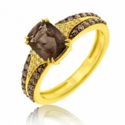 Bague en or jaune rhodié, quartz fumé, diamants blancs et diamants bruns