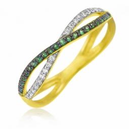 Bague en or jaune, oxydes de zirconium blancs verts