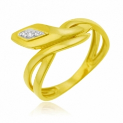 Bague en or jaune rhodié  et diamants, serpent