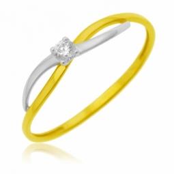 Bague en or jaune rhodié, oxyde de zirconium