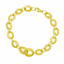 Bracelet en or jaune mat et lisse