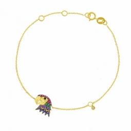 Bracelet en or jaune rhodié et oxydes de zirconium, perroquet