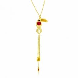 Collier en or jaune et laque, toucan