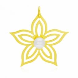 Pendentif en or jaune et perle de culture, fleur