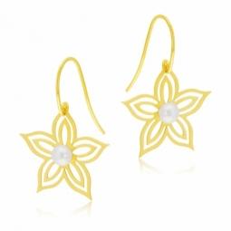 Boucles d'oreilles crochet  en or jaune et perle de culture, fleur