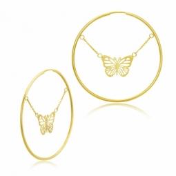Boucles créoles en or jaune, papillons