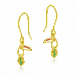 Boucles d'oreilles crochet en or jaune et laque, toucan