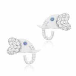 Boucles d'oreilles en or gris et oxydes de zirconium, éléphant