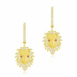 Boucles d'oreilles en or jaune et oxydes de zirconium, lion