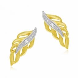 Boucles d'oreilles en or jaune rhodié, diamant