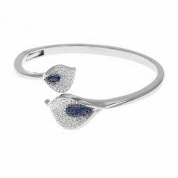 Bracelet jonc en argent rhodié, oxydes de zirconium bleus et blancs