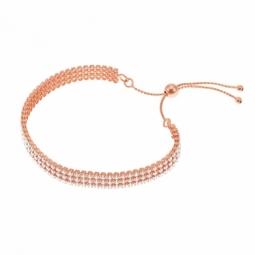 Bracelet bronze en plaqué or rose et oxydes de zirconium